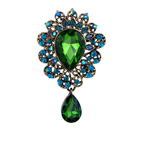YAZILIND Fashion Lily Flower Inlaid Rhinestones Alloy Zirconia Pendant Brooch Pin Women Girls Accessories(Green) from YAZILIND