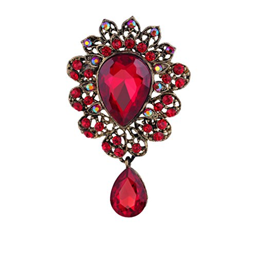 YAZILIND Fashion Lily Flower Inlaid Rhinestones Alloy Zirconia Pendant Brooch Pin Women Girls Accessories(Red) from YAZILIND