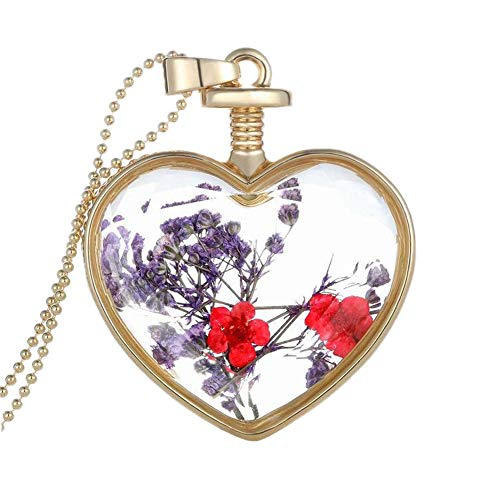 YAZILIND Gold Plated DIY Dried Flower Heart Lockets Pendant Chain Necklace Women Birthday Jewellery Gift(Colour 4) from YAZILIND