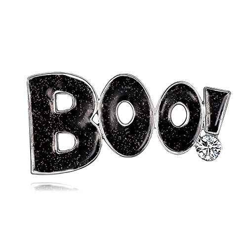 YAZILIND Halloween Rhinestone Boo! Alloy Brooch Pin Corsage Women Accessories(Black) from YAZILIND