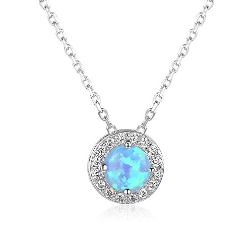 YAZILIND S925 Sterling Silver Opal Pendant Necklace Women Wedding Engagement Party Jewellery Gift from YAZILIND
