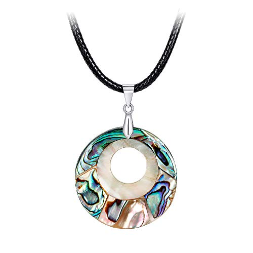 YAZILIND Sea Abalone Shell Pendant Necklace Alloy Hollow Curb Chain Anniversary for Women from YAZILIND