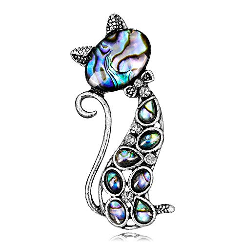 YAZILIND Sea Shell Brooch Cute Cat Shape Rhinestone Alloy Collar Pins Corsage Jewellery for Women from YAZILIND