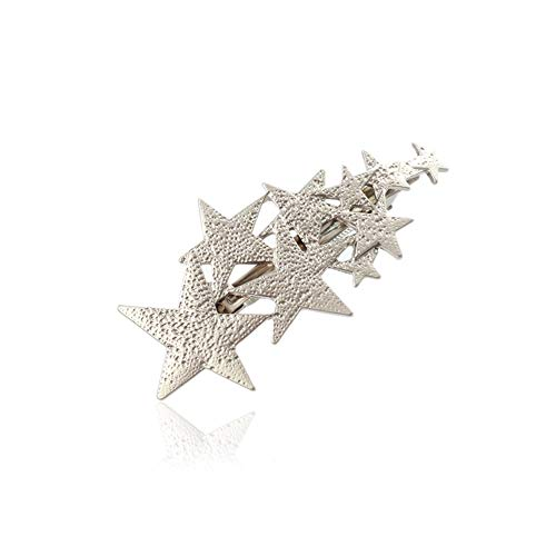 YAZILIND Simple Pentagram Shape Spring Big Hair Clips Hairpins Accessories Exquisite Hair Clips for Women Silver from YAZILIND