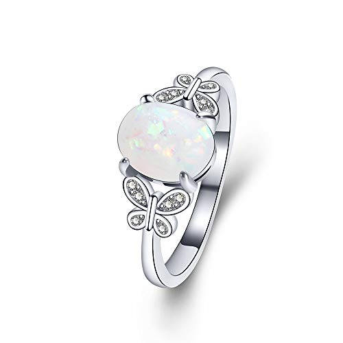 YAZILIND Statement Platinum Plated Ring Butterfly Opal Cubic Zirconia Wedding Engagement Jewellery Gift Size(P 1/2) from YAZILIND