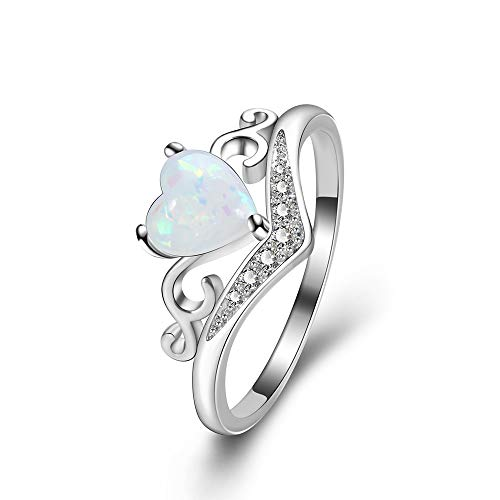 YAZILIND Statement Wedding Ring Platinum Plated Heart Opal Cubic Zirconia Engagement Jewellery Gift Size(N 1/2) from YAZILIND