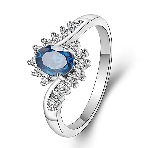 YAZILIND Women Jewellery Gift Platinum Plated Oval Cut Blue Cubic Zirconia Wedding Engagement Ring Size (T 1/2) from YAZILIND