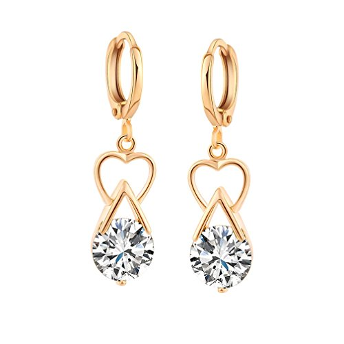 Yazilind 18K Gold Plated Cubic Zirconia Charming Earrings Drop Dangle Earrings for Women Gift Idea from YAZILIND