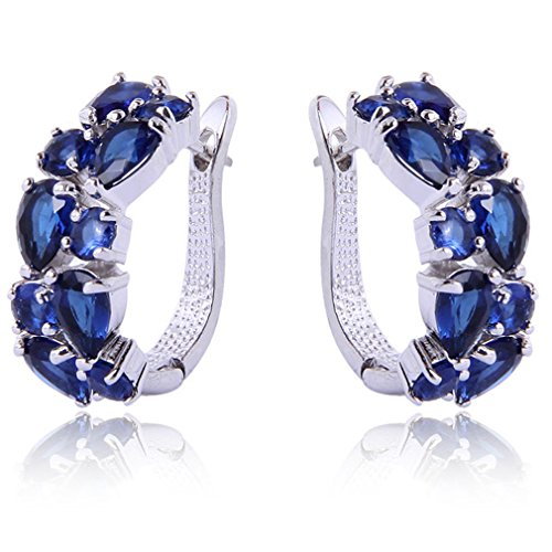 Yazilind Dazzling Rhodium Plated Sapphire Blue Round Pear Cut Cubic Zirconia Claw Small Hoop Earrings from YAZILIND