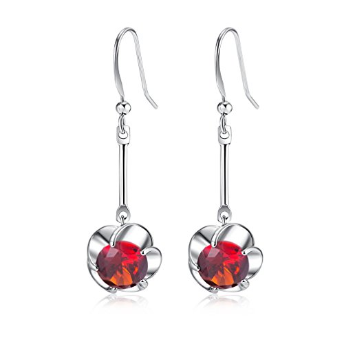 Yazilind Dazzling Silver Plated Round Cut Flower Red Cubic Zirconia Long Dangle Drop Earrings from YAZILIND