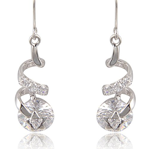 Yazilind Dazzling Twisted Design Rhodium Plated Round Star Cubic Zirconia Dangle Drop Earrings from YAZILIND