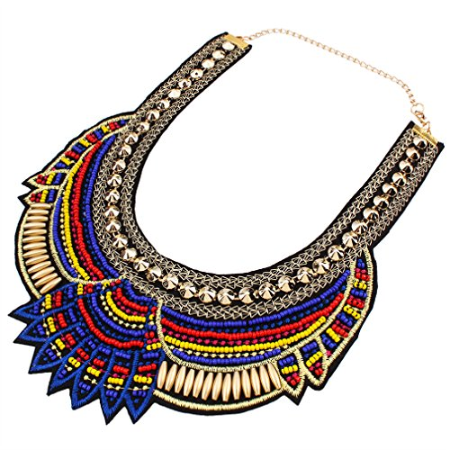 YAZILIND Ethnic Style Blue Multiple Millet Beads Chunky Chain Bib Statement Choker Collar Necklace for Women from YAZILIND