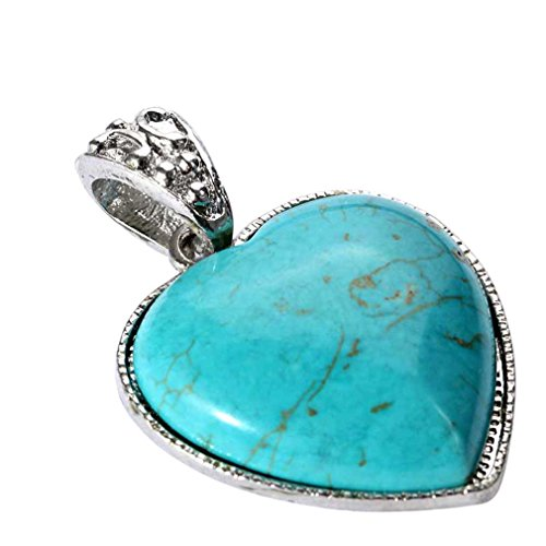 YAZILIND Jewellery Heart Vintage Turquoise Necklace Pendants for Women Without Chain Tibetan Sliver from YAZILIND