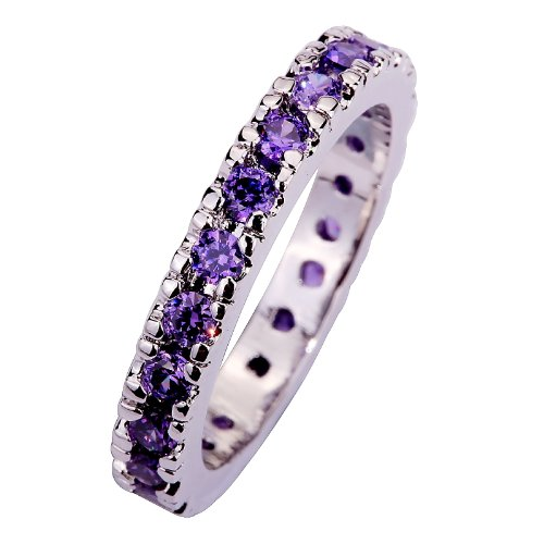 YAZILIND Women's Ring with Round Cut Amethyst Gemstones Silver UK Size Q Wedding Party from YAZILIND