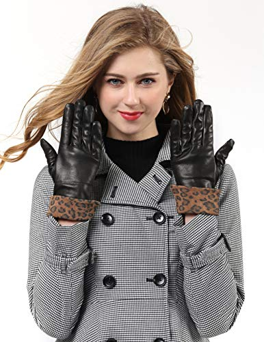 YISEVEN Women Touchscreen Sheepskin Fashion Leather Gloves Cuffed Wool Lined Sexy for Winter Warm Elegant Motorcycle Outdoor Driving, Brown Large from YISEVEN