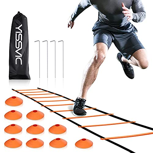 YISSVIC Agility Ladder Speed Ladder 6M 12-Rung with 10 Cones and 4 Stakes from YISSVIC