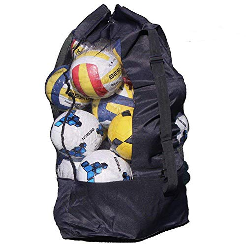 Extra Large Waterproof Mesh Equipment Duffel Bag Heavy Duty Net Ball Shoulder Bag Basketball Volleyball Soccer Rug Ball Football Carrying Bag Tote Storage Sack with Drawstring for 10-15 Balls from BXT