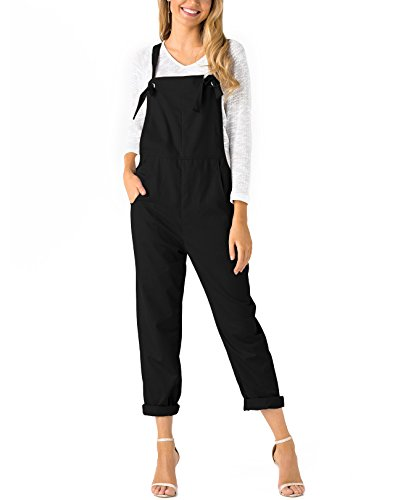 YOINS Women's Retro Dungarees Loose Overalls Baggy Strappy Pocket Sleeveless Long Jumpsuit Playsuit Romper Bib Trousers Pants Black UK 4 from YOINS