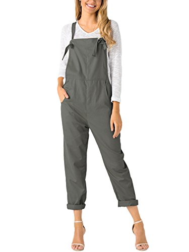 YOINS Women's Retro Dungarees Loose Overalls Baggy Strappy Pocket Sleeveless Long Jumpsuit Playsuit Romper Bib Trousers Pants Grey UK 14-16 from YOINS