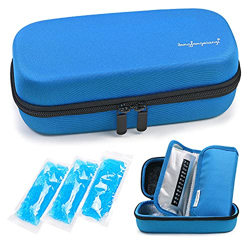 YOUSHARES Insulin Cooler Travel Case - Handy Medication Insulated Diabetic Carrying Cooling Bag for Insulin Pen, Glucose Meter and Diabetic Supplies with 3 Cooler Ice Pack (Blue) from YOUSHARES