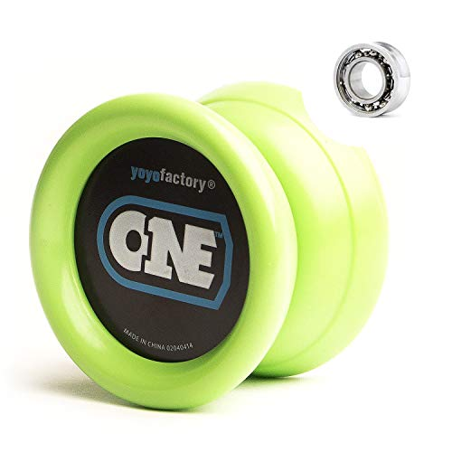 YoyoFactory ONE Yo-Yo - Green (modern spinning yoyo, beginner to pro, 2 different level ball-bearings included, comes with string) from YOYO FACTORY