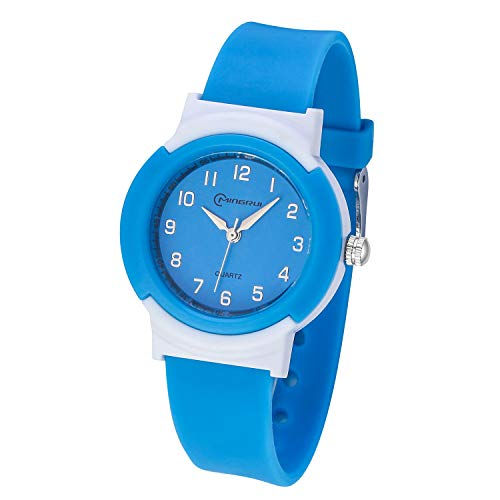Kids Watches,Children Analogue Quartz Watch for Boys Girls Kids Waterproof Time Teach Watches, Color Dial Soft Band Wrist for Kids Sport Outdoor Wrist Watches (Blue) from Yadelai