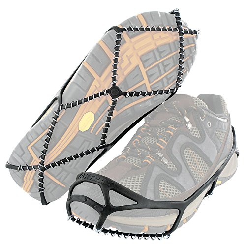 Lightweight and affordable slip-on traction cleats to reduce the risk of falls when walking on snow or ice to work, school, or even to the mailbox from YakTrax