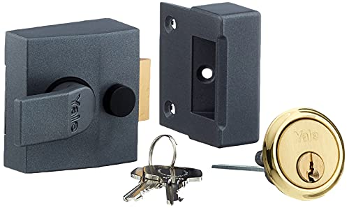 Yale Locks P85 Deadlocking Nightlatch DMG Finish Brass Cylinder 40 mm Visi Pack from Yale