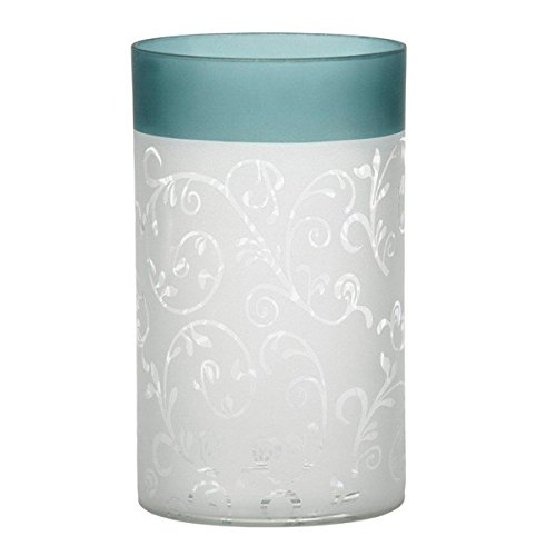 Yankee Candle 1521507 Teal Vine Glass Tealight Holder, Green/White, 15 x 10 x 10 cm from Yankee Candle