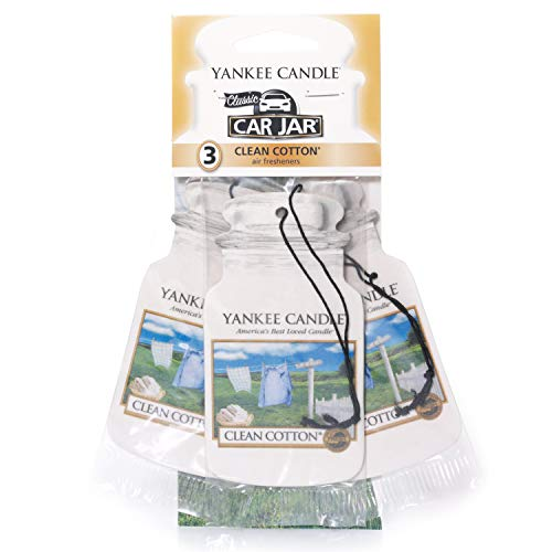 Yankee Candle Car Jar Scented Air Freshener, Clean Cotton, Three Count from Yankee Candle