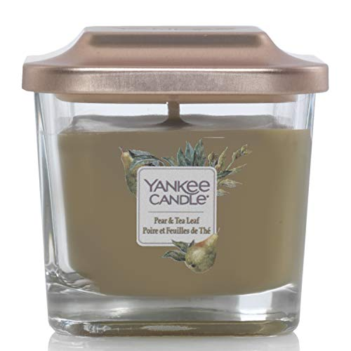 Yankee Candle Elevation Collection with Platform Lid Small 1-Wick Square Candle, Pear & Tea Leaf from Yankee Candle