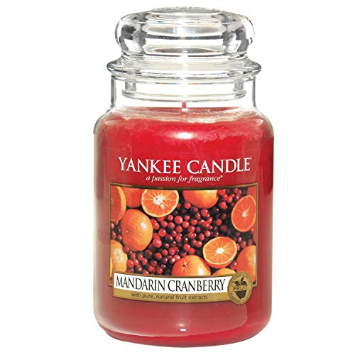 Yankee Candle Large Jar Scented Candle, Mandarin Cranberry, Up to 150 Hours Burn Time, Glass, Red from Yankee Candle