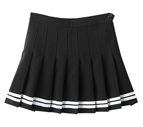 Yasong Women Girls Short High Waist Pleated Skater Tennis Skirt School Skirt Uniform With Inner Shorts (05 Black) UK 12 from Yasong