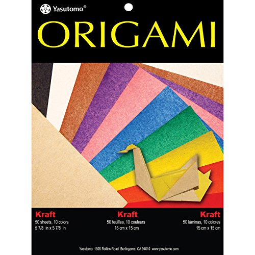Yasutomo Fold 'Ems Origami 2-Sided Paper 5.875-inch 50/Pkg-Kraft/Brights,  Other,  Multicoloured from Yasutomo