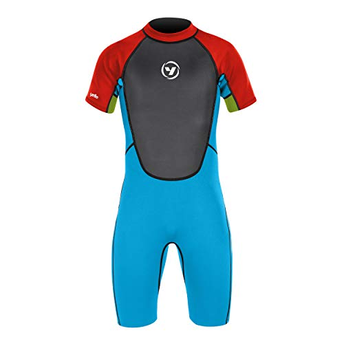 Yello Kid's 2 mm Shorty Summer Mako Wetsuit, Boys, Blue, Medium Long from Yello