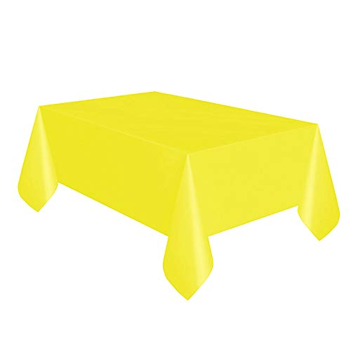 "SUNFLOWER YELLOW Plastic Tablecover/Tablecloth {54"" x 108""}{137cm x 274cm} from Unique Party"