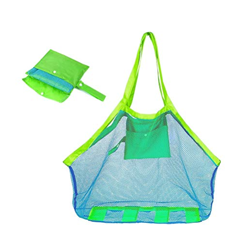 Yesmin Extra Large Mesh Beach Tote Bag for Outdoor Swim Pool Childrens and Kids Toys Travel Towels Sand Away Organizer Storage Bags, Foldable & Lightweight (Blue mesh Green bag) from Yesmin
