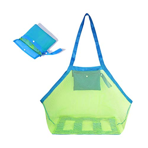 Yesmin XL Extra Large Mesh Beach Tote Bag for Outdoor Swim Pool Childrens and Kids Toys Travel Towels Sand Away Organizer Storage Bags, Foldable & Lightweight (Green mesh Blue bag) from Yesmin