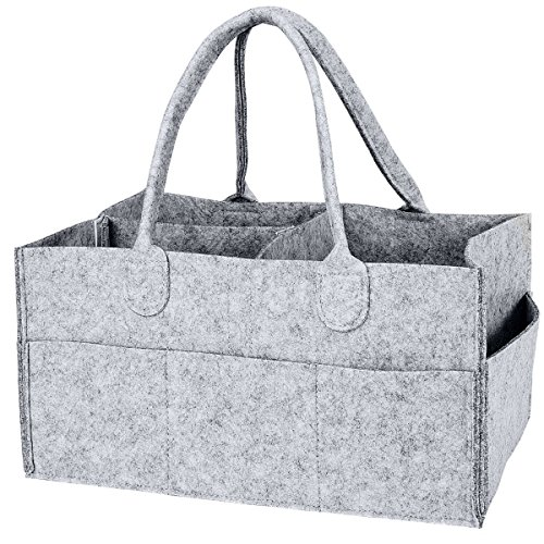 Enyoir Foldable Baby Diaper Caddy Organiser, Portable Nursery Storage Basket Bin with Changeable Compartments(Grey) from Enyoir