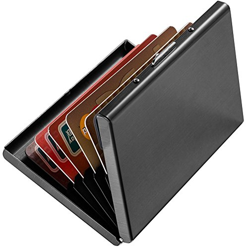 YiCoo Slim RFID Credit Card Protector Wallet,Block Identity Thieves, Stainless Steel Aluminum Metal Holder Case with 6 PVC Slots (Black) from YiCoo