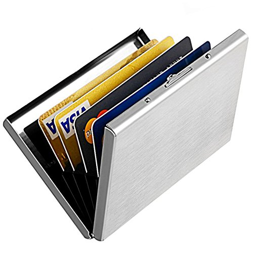 YiCoo Slim RFID Credit Card Protector Wallet,Block Identity Thieves, Stainless Steel Aluminum Metal Holder Case with 6 PVC Slots (Sliver) from YiCoo