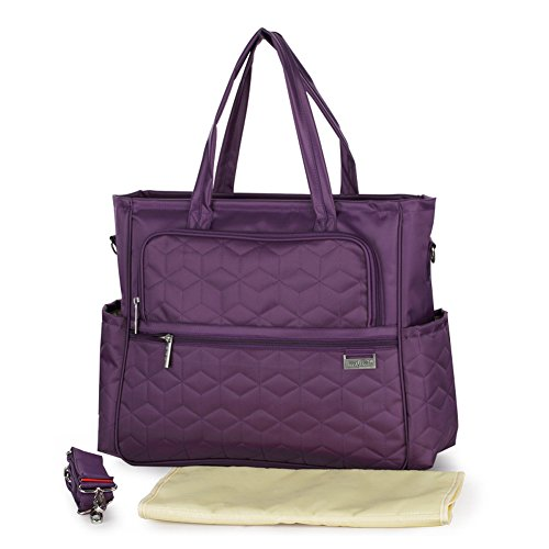 Multifunctional Baby Diaper Mummy Changing Bag Waterproof Nappy Bag Tote Shoulder Bag (Purple) from Yimidear