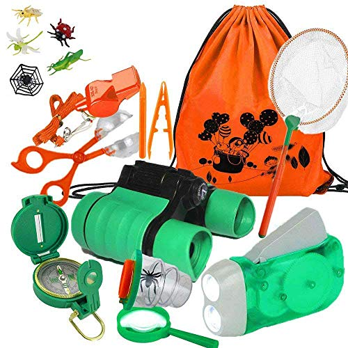 Yiran Adventure Outdoor Explorer Kit Gifts Toys, 17 Pieces Birthday for 3-10 Years Old Boys Girls, Educational Toys STEM Backpacking Compass Binocular sets Camping Bug Catcher Hiking from Yiran