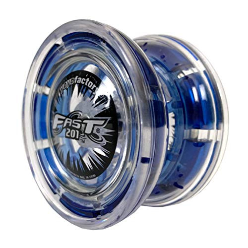 YoyoFactory FAST 201 Professional Responsive Yo-Yo With Ball Bearing & String - Blue (modern spinning yoyo, high speed steel ball-bearing, string and tips included) from YOYO FACTORY