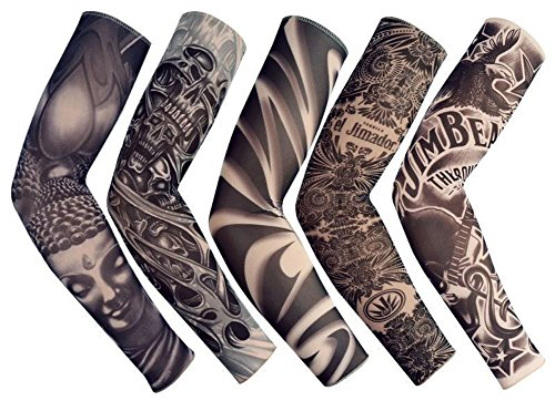 Temporary Fake Slip On Tattoo Arm Sleeve Cycling Basketball Sun Block Sleevelet for Men and Women (Unisex Dark Set, Pack of 5) from Yoogeer