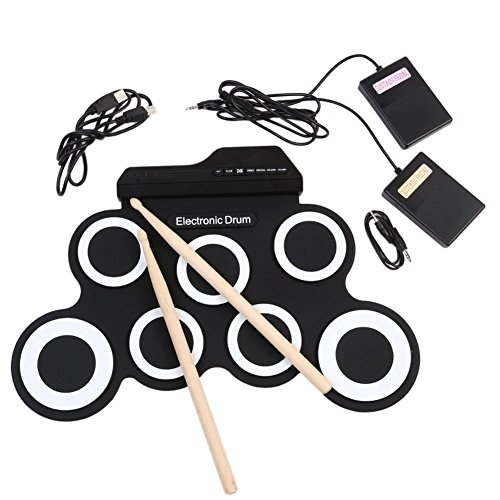 Youngshion Portable MIDI 7 Pads Digital Instrument Foldable Electronic Roll Up Drum Kit with USB Cord, 2 Foot Pedals and Drum Sticks (White) from Youngshion