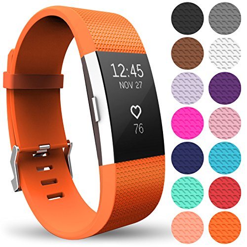 Yousave Accessories FitBit Charge 2 Strap Band - Replacement Silicone Sport Wristband for the FitBit Charge 2 – One to Ten Packs and 15 Colours Available (Large - Single Pack, Orange) from Yousave Accessories