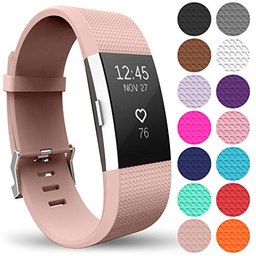 Yousave Accessories Replacement Strap for FitBit Charge 2, Silicone Sport Wristband for the FitBit Charge 2 - (Large - Single Pack, Rose Gold) from Yousave Accessories