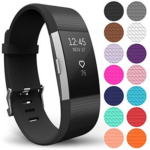 Yousave Accessories Replacement Strap for FitBit Charge 2, Silicone Sport Wristband for the FitBit Charge 2 - (Large - Single Pack, Black) from Yousave Accessories