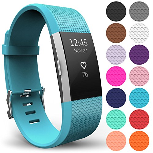 Yousave Accessories FitBit Charge 2 Strap Band - Replacement Silicone Sport Wristband for the FitBit Charge 2 – One to Ten Packs and 15 Colours Available (Large - Single Pack, Cyan) from Yousave Accessories